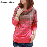 New 2016 Spring Summer Women Sweatshirts Plus Size 4XL Casual Solid Hoodies Print Polka Dot Cute