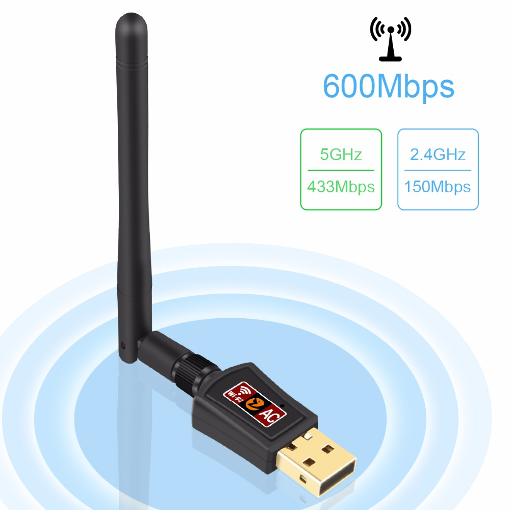 Zoweetek Mini Wifi Adapter 600Mbps 802.11ac Dual Band 2.4G/5G 2dBi Antenna Wireless ...