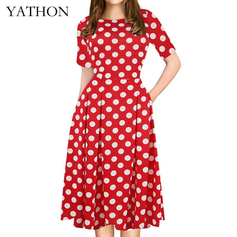 1aab3479377a Click here to Buy Now!! В Горошек карманы лоскутное Конькобежец линии Платья  для женщин женские летние ...