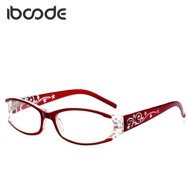 iboode Elegant Women Reading Glasses Floral Printed Female Elderly Anti-fatigue Presbyopic Glasses Eyewear Red/Purple