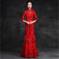 아시아 신부 토스트 새로운 스타일의 물고기 긴 꼬리 슬림 빨간 이브닝 치파오 드레스 소녀 레이디 레드 레이스 중국 스타일의 신부 웨딩 드레
