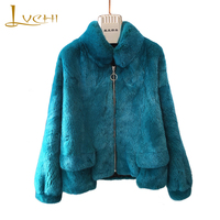 LVCHI 2018 Import Velvet Real Mink Fur Coats Women S Coat Full Pelt Mandarin Collar Causal