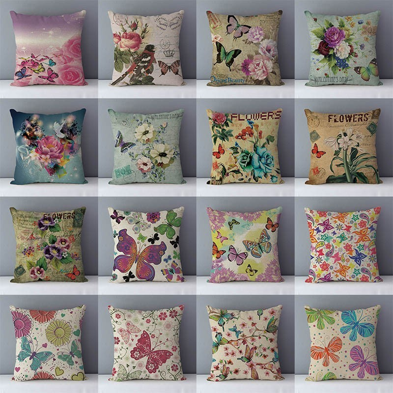 Quality Printed Colored Butterfly Vintage Flower Retro Couch Cushion Home Decorative Pillows Cotton Linen Pillowcase 45x45cm QX