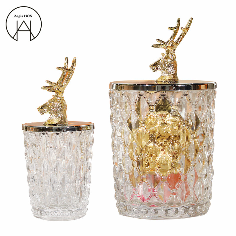 High quality Creative metal deer head decoration Storage bottle Candy jar glassware large Storage tank crystal Can's ornaments