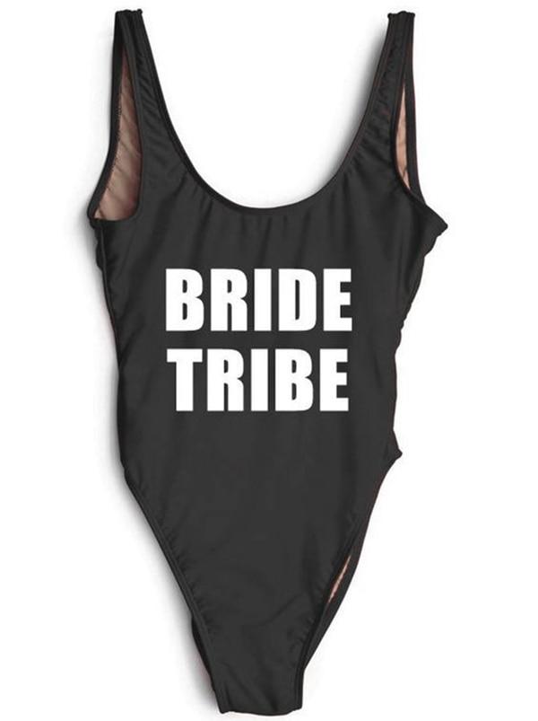 Beachwear trend Bride Tribe Bodysuit lady female Backless One piece swimsuit letter Print Swimwear sexy sell well Bathing Suit