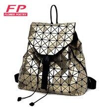 Neue Laser Geometrische Bao Bao Frauen Rucksack Taschen Mode Rucksäcke Für Teenager Mädchen Falten Pailletten Schulter Tägliche Schwarz