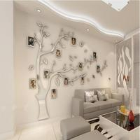 DIY creative 3D silver pattent acrylic photo frame tree wall sticker sofa background wall decals living room home decoration