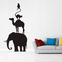 Kucada camera per bambini creativi diy art wall stickers decorazione della casa carta da parati in vinile elefante cammello gatto pinguino jg1677