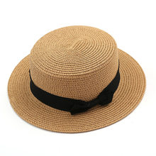 2ebdb46e984d2 Nouveau Style Dame Plaisancier soleil caps Ruban Plat Haut De Paille plage  chapeau Panama Chapeau d'été chapeaux pour les femmes.