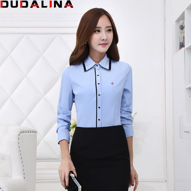ba9825bf5d5 Novas Blusas Femininas Camisas Dudalina Camisa de Manga Longa Mulheres  Roupas Azul E Branco Plus Size