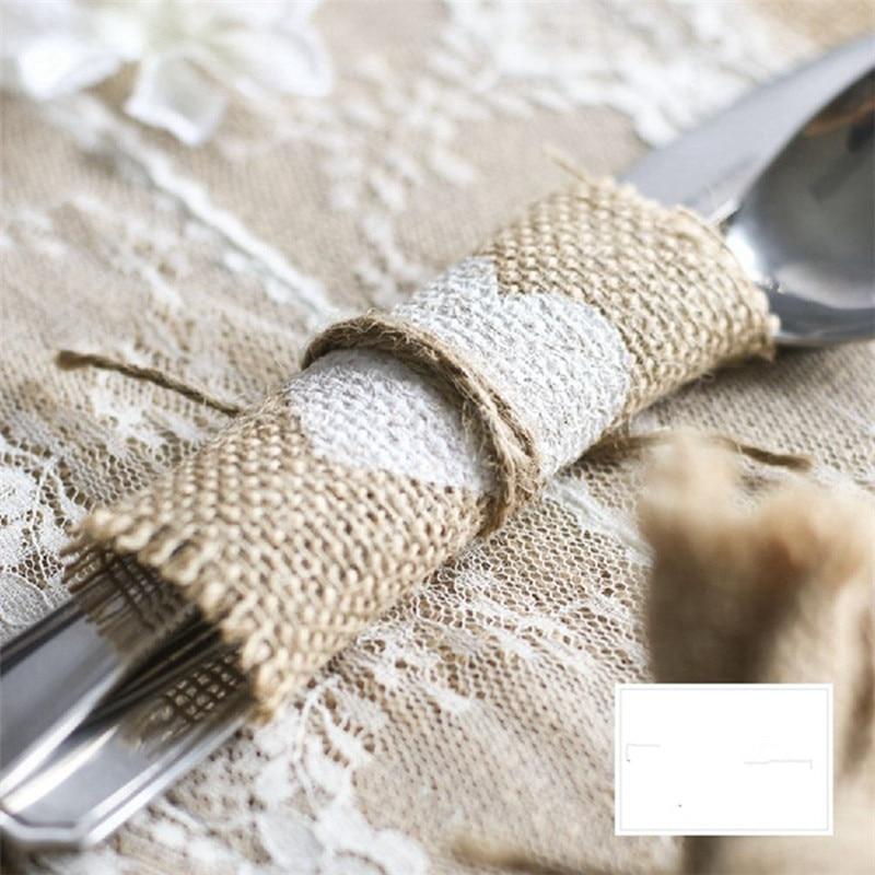 100pcslot Jute Cup Mat Table Placemat Coaster Rustic Wedding Centerpiece Wedding Cutlery Pocket Burlap Wedding Decoration (3)