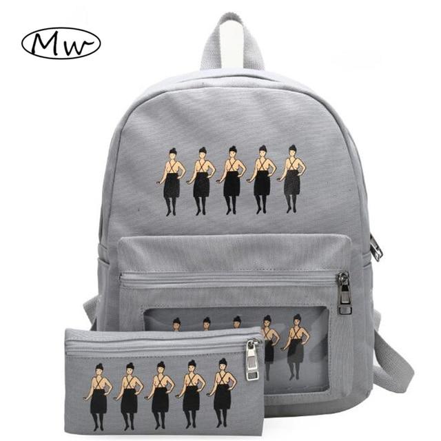 Summer bags beach girl printing backpack transparent pocket backpacks for girls women canvas double shoulder bag mochila M109