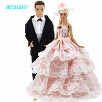 Free Shipping 2 Sets Pink Lace Bride Wedding Dress With Veil For Barbie Doll Suit Clothes