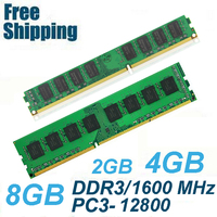 High Quality Memory Ram PC3 12800 DDR3 1600Mhz 8GB 4GB 2GB For Desktop Memoria PC3 10600