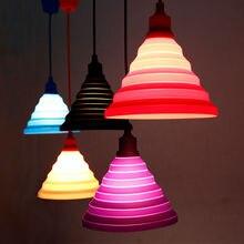 Modern Simple Colorful Silicone Pendant Lights Fashion DIY Design Color Children Bedroom Restaurant Pendant Lamp Single Head E27