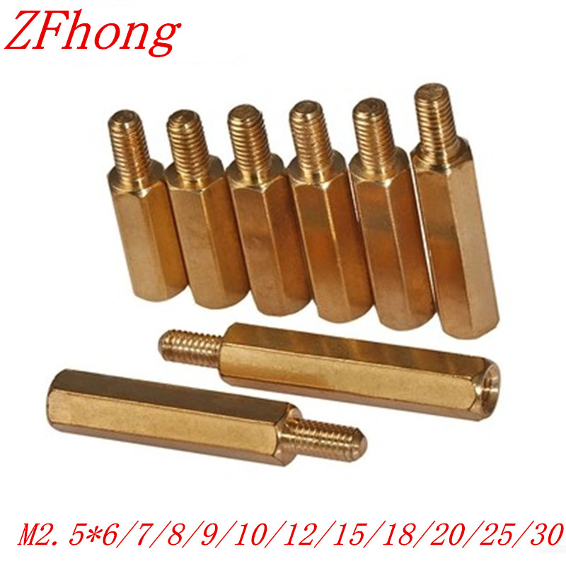 100PCS M2.5 male to female Brass Standoff spacer length 6mm-30mm m2 3 3 1pcs brass standoff 3mm spacer standard male female brass standoffs metric thread column high quality 1 piece sale