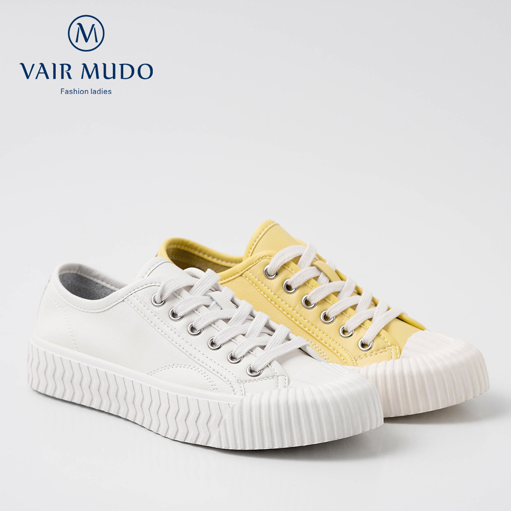 VAIR MUDO New Fashion Women Canvas Shoes Spring Autumn Cow Leather Pigskin Lining Flat Shoes Casual Women Shoes D19L