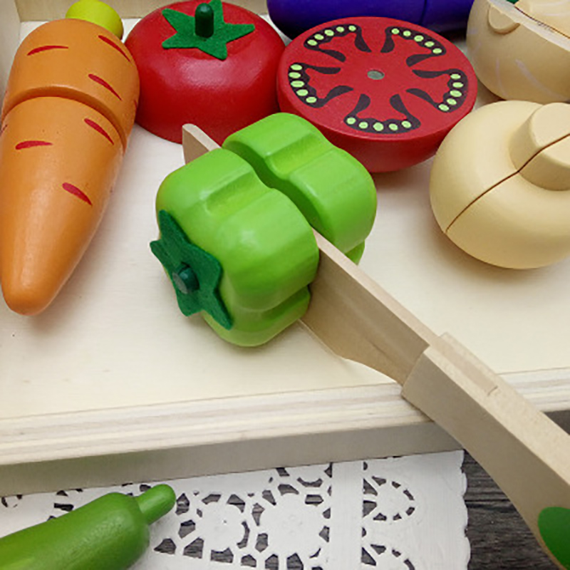 Kids Wooden Kitchen Toys Cutting Fruits Vegetables Children Wooden Toys Play Kitchen Education Magic Wooden Stickers Baby Fruit