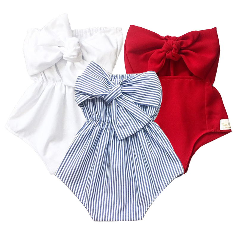 Baby Girls Romper Stripe Off Shoulder Ruffle Jumpsuits Headband Summer Toddler Bow Romper Newborn Outfits Playsuit 0-2T