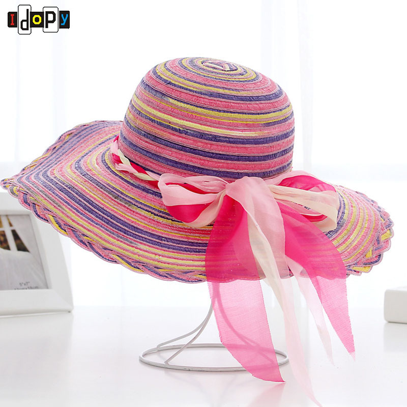 c2a917518e8 Summer Hat Ladies Rainbow Striped Wide Brim Beach Sun Hat Outdoor Casual  Breathable Caps For Women -in Sun Hats from Apparel Accessories on  Aliexpress.com ...