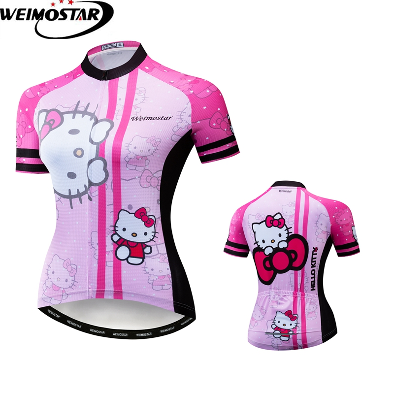 Weimostar Cycling Jersey 2019 Womens Top Maillot Ciclismo Youth Hello Kitty Racing Bicycle Clothing Summer MTB Bike ShirtsWeimostar Cycling Jersey 2019 Womens Top Maillot Ciclismo Youth Hello Kitty Racing Bicycle Clothing Summer MTB Bike Shirts