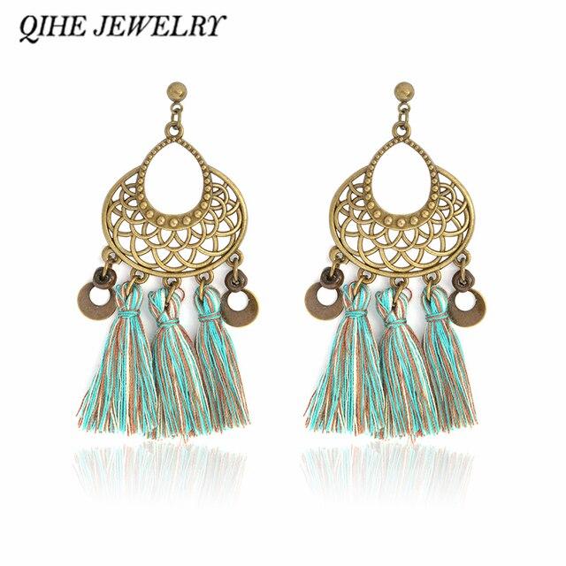 Qihe jewelry tassel earring antique bronze hollow out round qihe jewelry tassel earring antique bronze hollow out round chandelier charms earrings handmade cotton bohemian jewelry mozeypictures Gallery
