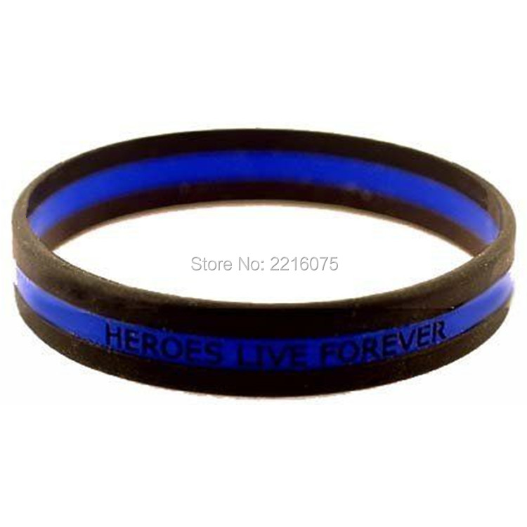 1000pcs Triband Heroes Live Forever Thin Blue Line Silicone Wristband Rubber Bracelets Free Shipping By Dhl Express In Cuff From Jewelry