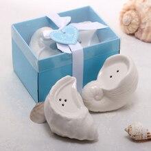 24 шт. = 12 коробок Свадебная Солонка и перец шейкер сувениры в виде морской улитки пляжные свадебные сувениры+ синяя лента с изображением подарочных коробок спасибо карта