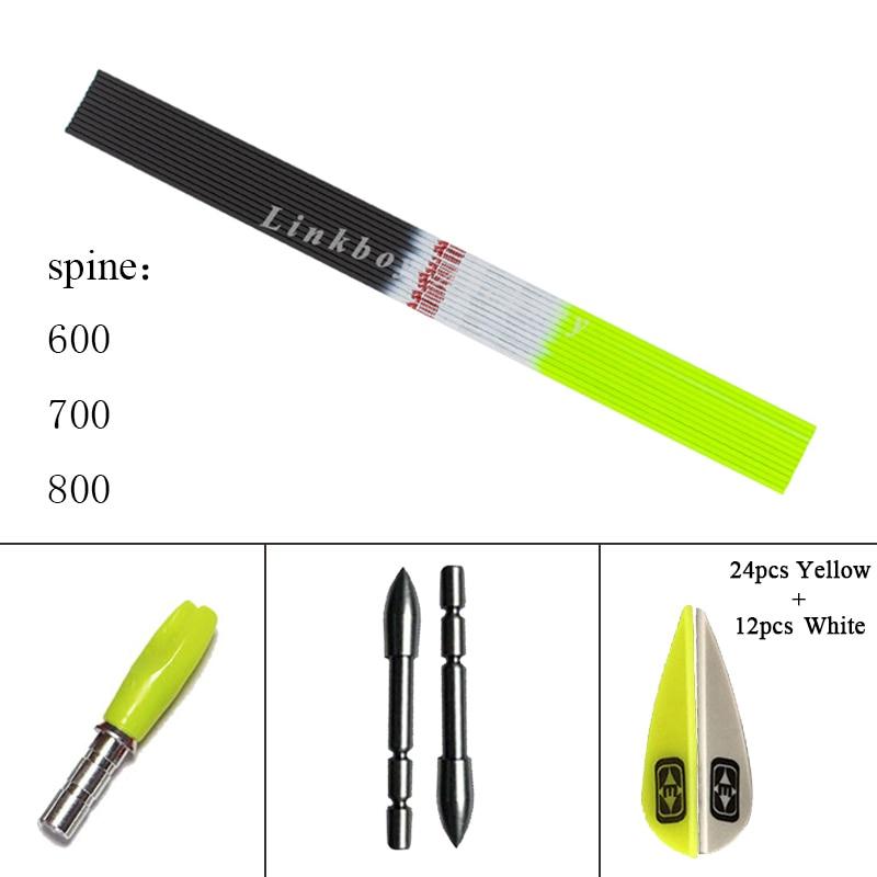 12pcs Archery Carbon Arrows Shaft Sp600 700 800 30inch 1 75inch Plastic Vanes 80gr Tips Recurve
