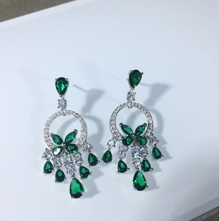 Hot Brand pur 925 argent Sterling pour les femmes blanc/vert/rouge pierre boucles d'oreilles de mariage boucles d'oreilles bijoux en argent