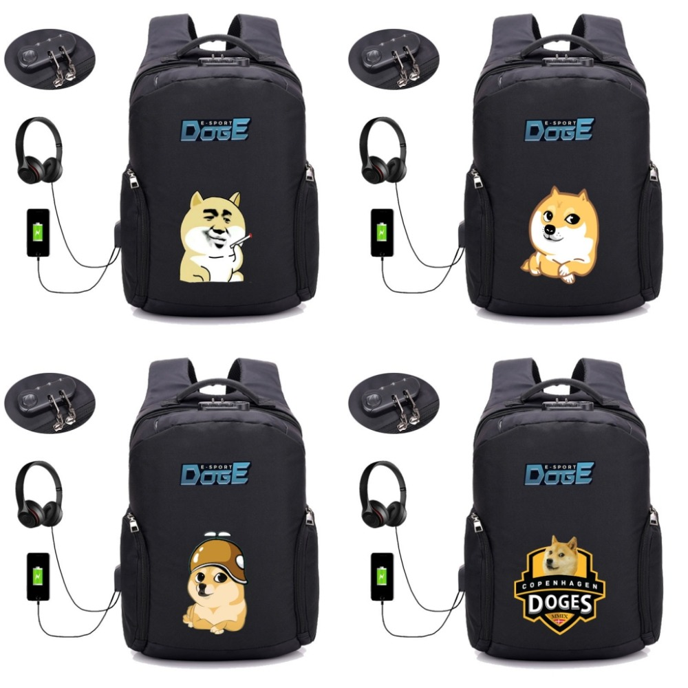 Cartoon anime doge cute dog backpack Anti thief USB Recharging men Laptop Travel Backpack school bag  student book bag 10 styleCartoon anime doge cute dog backpack Anti thief USB Recharging men Laptop Travel Backpack school bag  student book bag 10 style