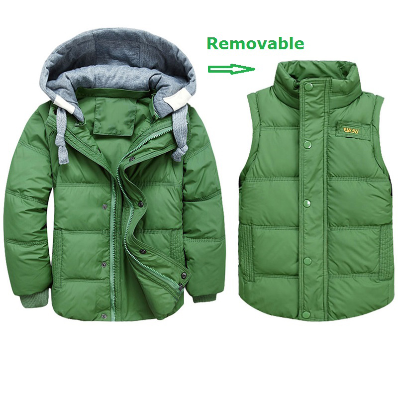 Boys Winter Jackets Removable Kids Down Parkas Vest 3 11Y Children s Hooded Coats Kids Thick