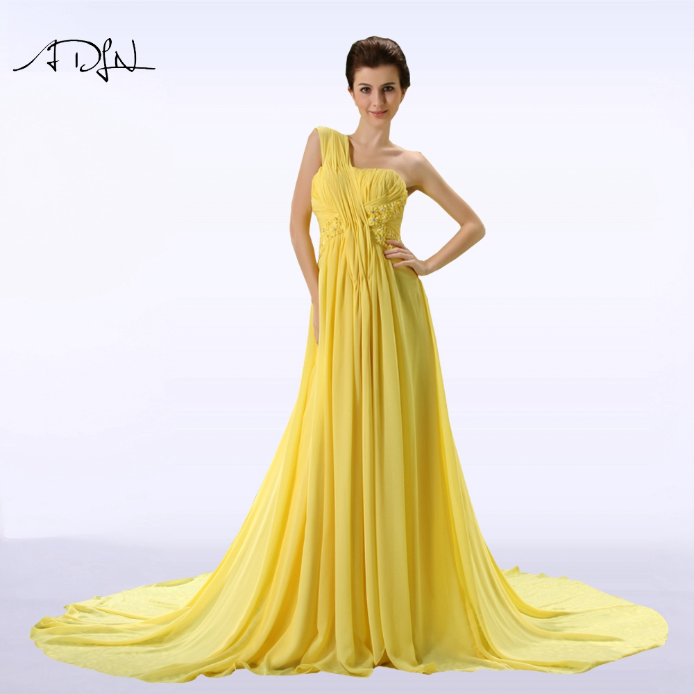 ADLN One-shoulder Long Evening Dress Chiffon Formal Party Gown ...