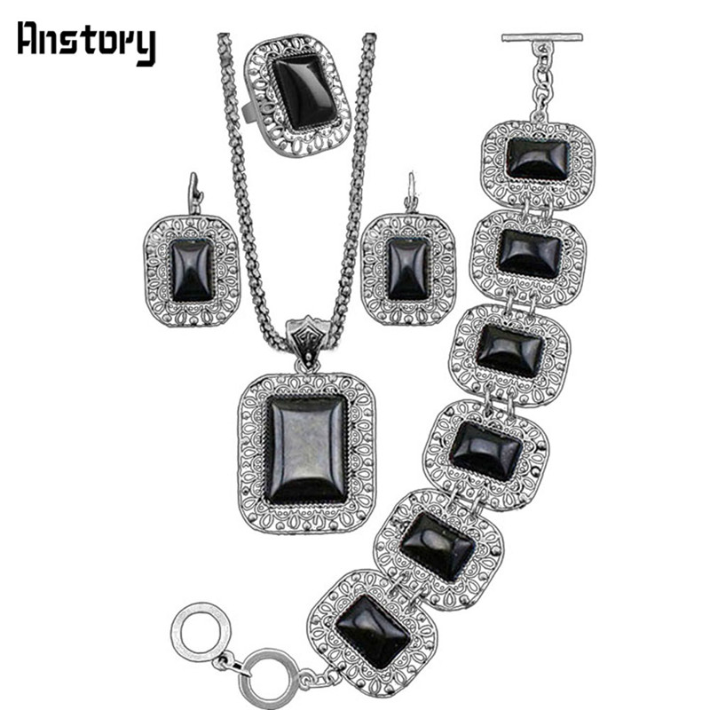 Hollow Flower Pendant Black Stone Jewelry Sets Necklace Bracelet Earring Ring For Women Vintage Antique Silver Plated Party Gift