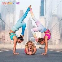 Colorvalue Superbe Gradient Couleur De Yoga Leggings Femmes Flexible De Danse Collants Running Respirant Taille Haute Caleçons Exercice