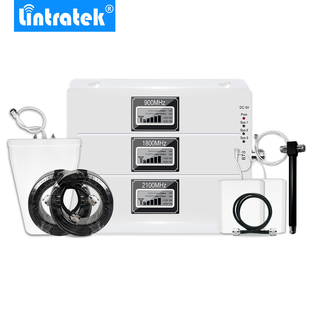 Lintratek 2G 3G 4G ALC AGC Mobile Phone Signal Booster Repeater Amplifier For GSM 900MHz W-CDMA UMTS 2100MHz 4G LTE 1800MHz @