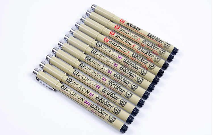 Anh Đào Nhật Bản Chống Nước Micron Bút Vẽ Hình Viên Đạn Tạp Chí Tranh Lập Kế Hoạch Truyện Tranh thiết kế họa tiết móc dây Đen bút Đầu Kim