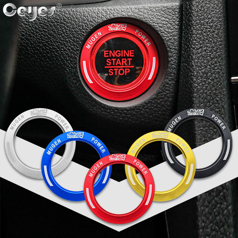 Ceyes Car Interior Accessories Styling Ignition Start Push Button Stop Ring Stickers Case For Honda Mugen Logo Civic 2018 Covers