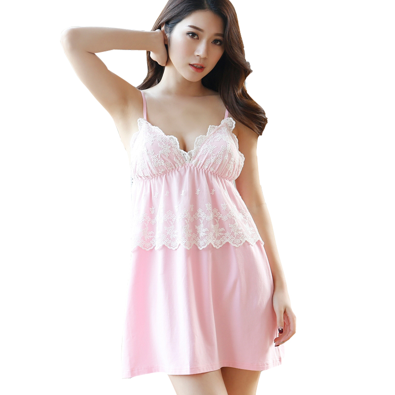 NUO Sleeveless Nighties V-neck Lace Nightdress Clothing Nightwear Mini  Babydoll Women s Cotton Summer Nightgown NS0013F 75c72c1ff3