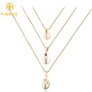 FINE4U N177 New Bohemia Multi-layer Natural Sea Shell Pendant Necklace Stainless Steel Chain Necklaces Summer Beach Jewelry
