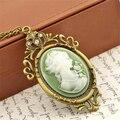 Verano de la joyería del estilo Vintage Antique Gold Queen Cameo Pendant Necklace declaración collar de collar de mujer joyería