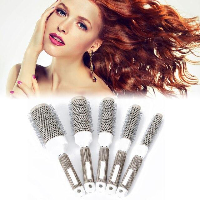 Peine de pelo redondo profesional resistente a la temperatura cepillo de hierro de cerámica herramienta de estilismo de salón de 5 tamaños para el cabello