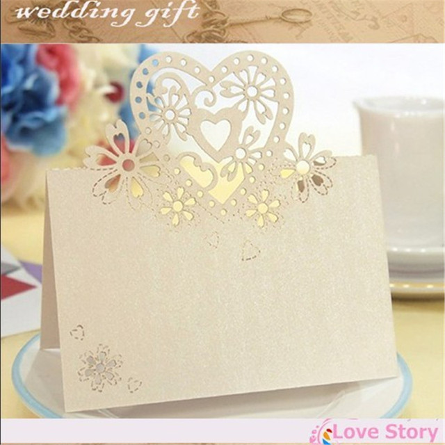 40pcs Laser Cut Place Cards Wedding Name Guest Card Party Table Decoration