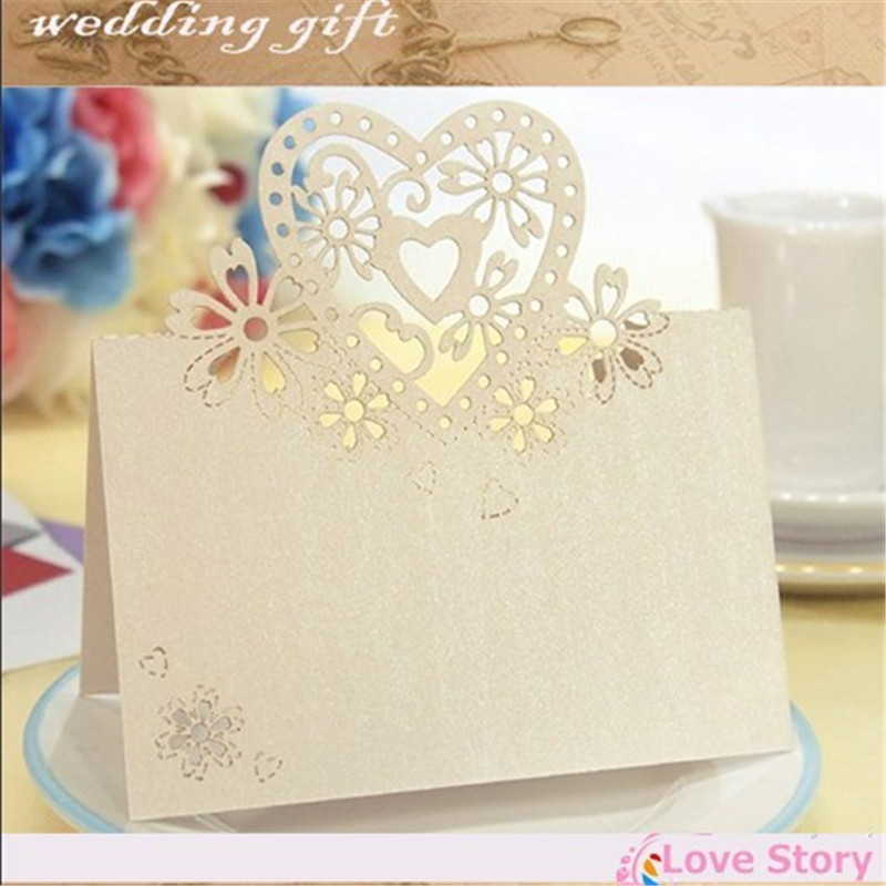 50pcs laser cut place cards wedding name cards guest name for Table 6 gift card