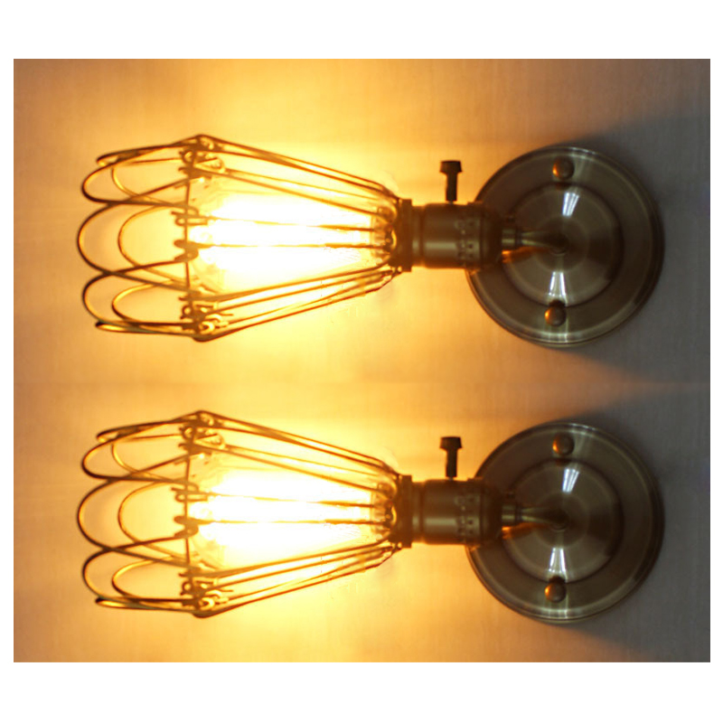 Modern Vintage Industrial Loft Metal Rustic Scone Wall Light Wall Lamp(Bronze, 1 wall light+1 bulb)