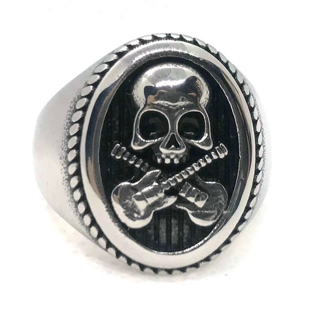 STAINLESS STEEL CROSS GUITAR SKULL RINGS