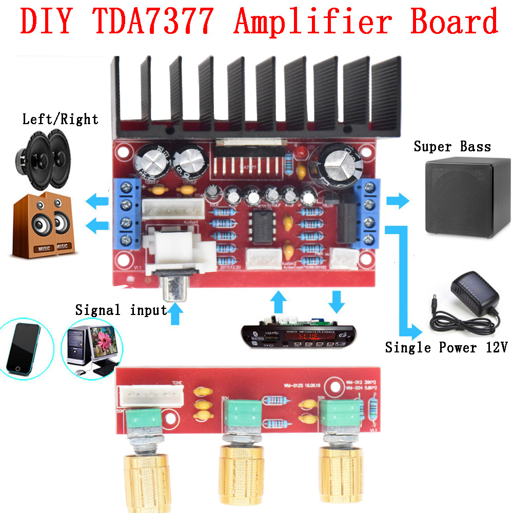 Cnikesin Tda7377 Diy Amplifier Board 12v Single Power Computer Dual Ne5532 Subwoofer Processing Circuit Low Pass Filter Super Bass 3 Channel Sound And 21 Sutie