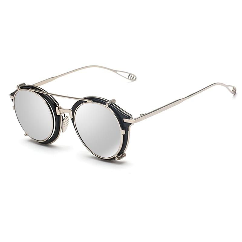 Vittoria Lip2016 Donne Degli Uomini di Modo Specchio Rotondo occhiali da Sole Steampunk Steam punk Hip Hop Hippie rand Designer Datati occhiali da sole