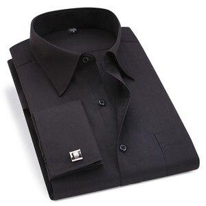 Image 1 - Clássico preto francês abotoaduras vestido de negócios masculino camisa de manga longa lapela camisa social 4xl 5xl 6xl ajuste de rotina