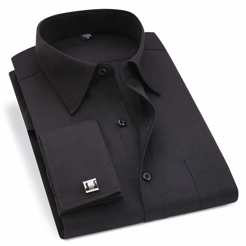 Classic Black French Cufflinks Men's Business Dress Long Sleeve Shirt Lapel Men Social Shirt 4XL 5XL 6XL Routine fit